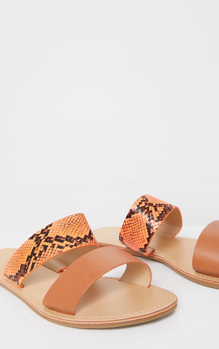 Orange PU Double Strap Contrast Snake Flat Mule Sandals 4