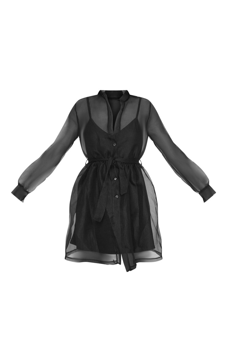 Black Organza Tie Waist Long Sleeve Shirt Dress 3