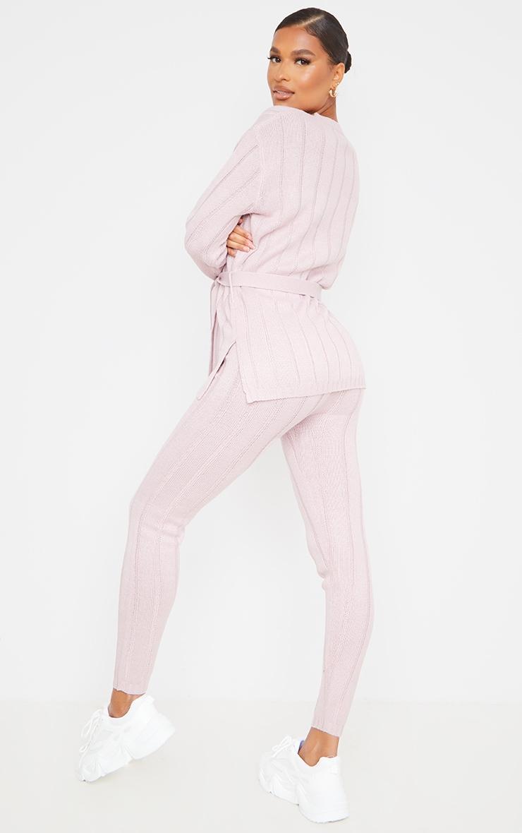 Rose Belted Longline Sweater And Legging Lounge Set 2