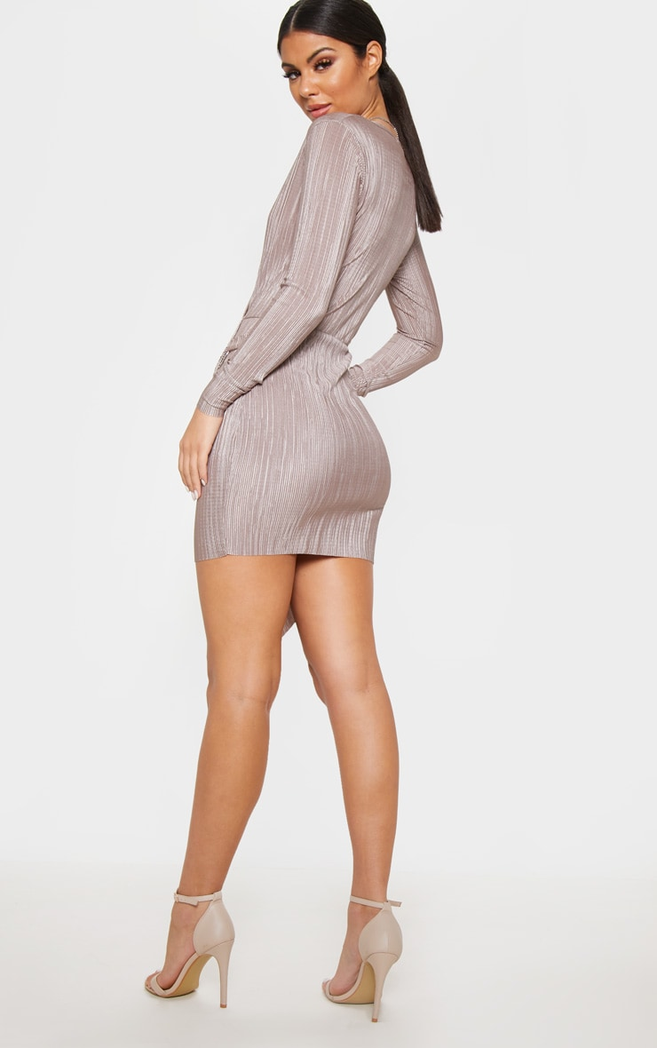 Mocha Plisse Ring Detail Wrap Bodycon Dress 2