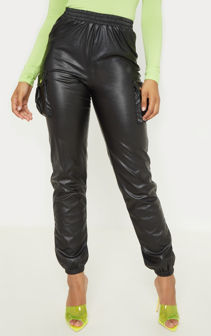 Tall Black Faux Leather Pocket Detail Joggers  2