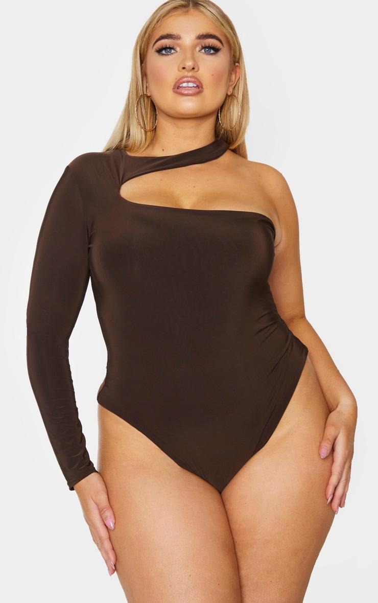 Plus Chocolate Brown Slinky Choker Neck Bodysuit 2