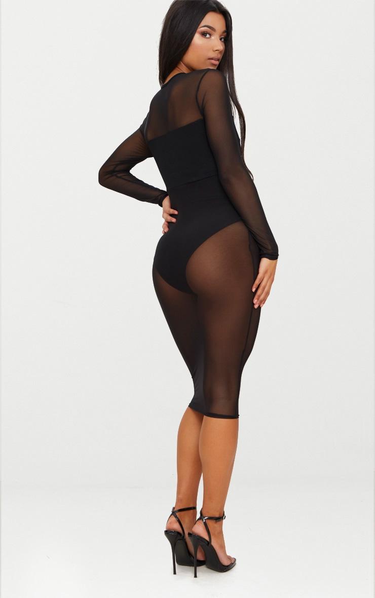 Robe mi-longue en résille noire à détail découpe 2
