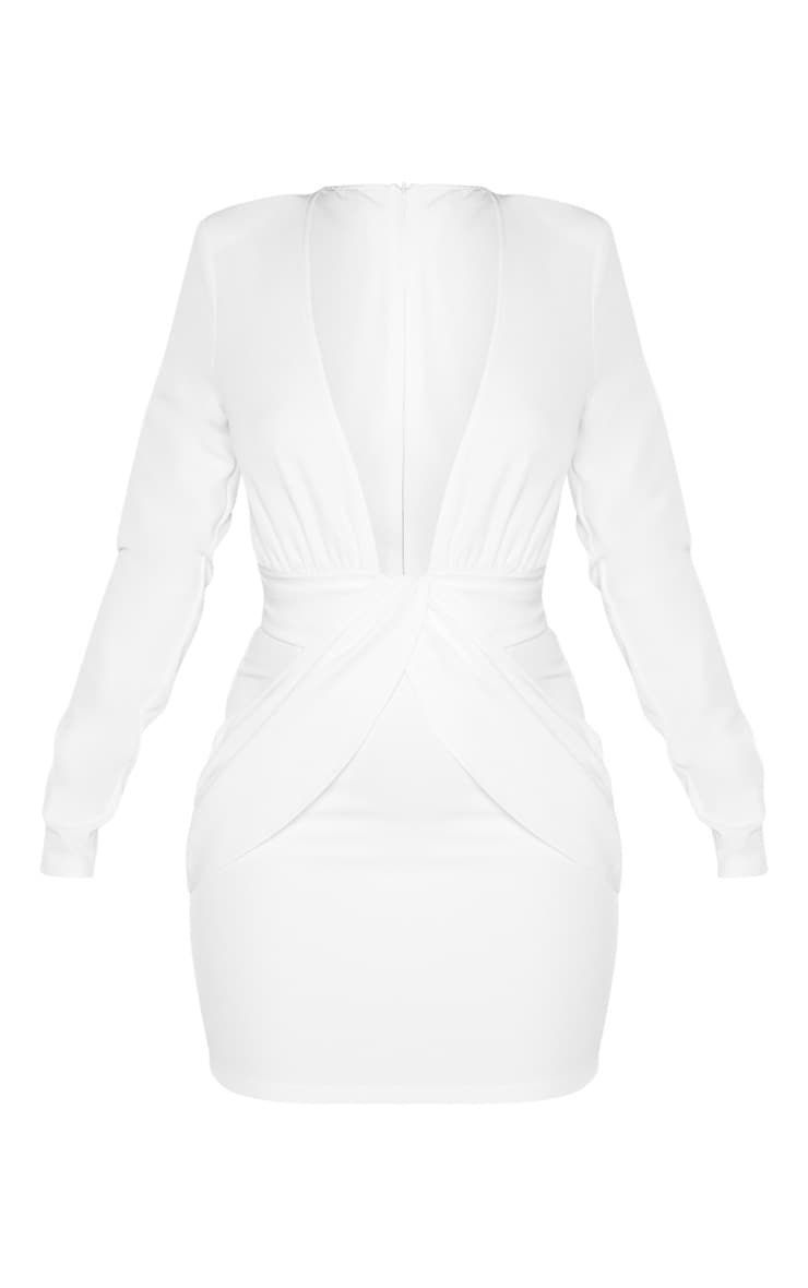 White Extreme Plunge Drape Detail Bodycon Dress 3