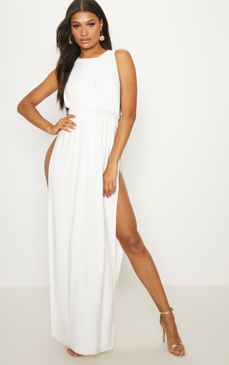 White Lion Buckle Side Boob Extreme Split Leg Maxi Dress 2