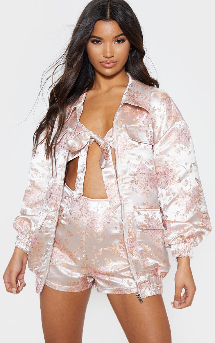 Blush Oriental Embroidered Bomber 1