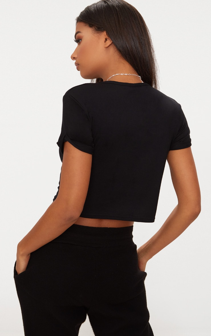 Basic Black Roll Sleeve Crop T Shirt 2