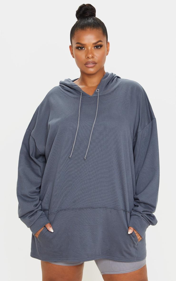Plus Charcoal Oversize Hoodie 1