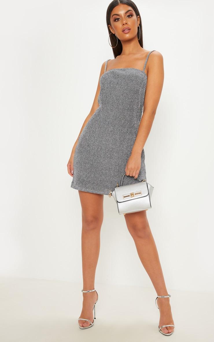 Silver Textured Glitter Strappy Square Neck Shift Dress 3