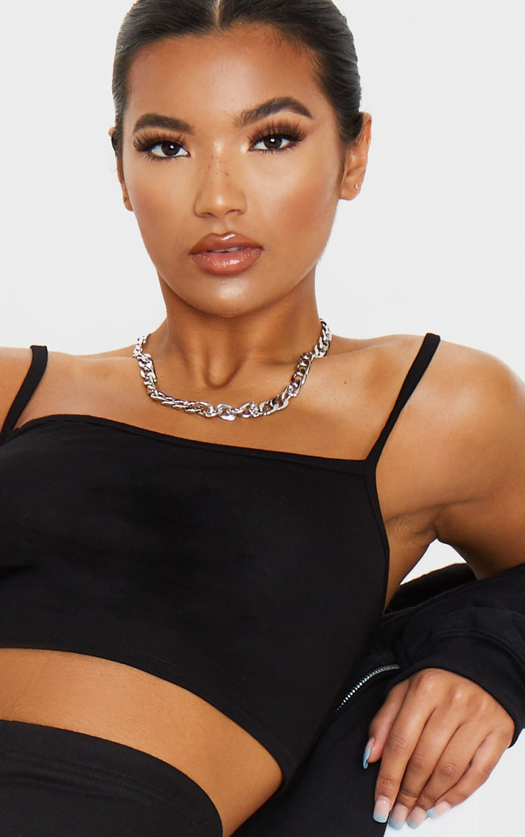 Black Strappy Jersey Crop Top 5