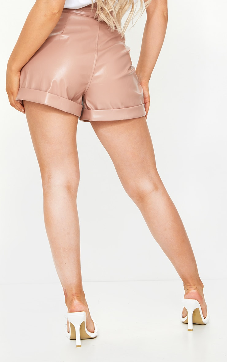 Dusty Pink Belted Faux Leather Turn Up Hem Shorts 4