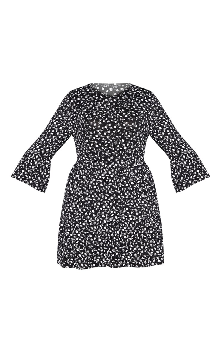 Plus Black Ditsy Floral Shift Dress 4