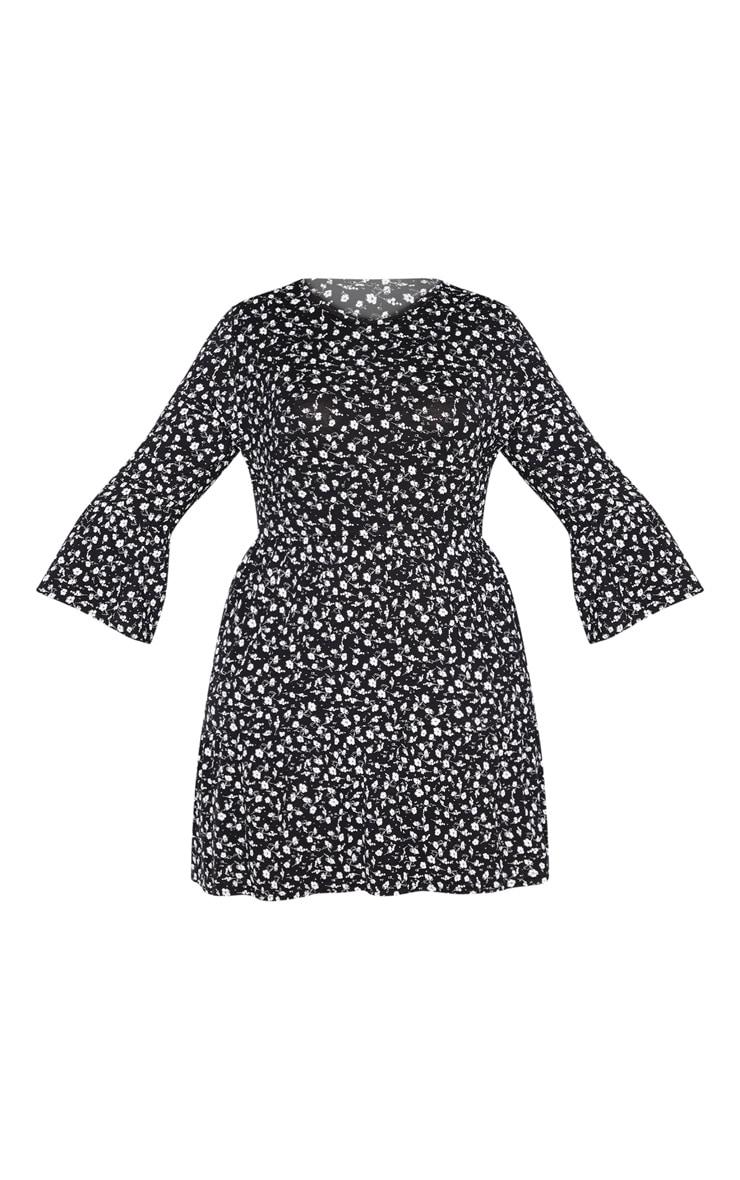 Plus Black Ditsy Floral Shift Dress 3