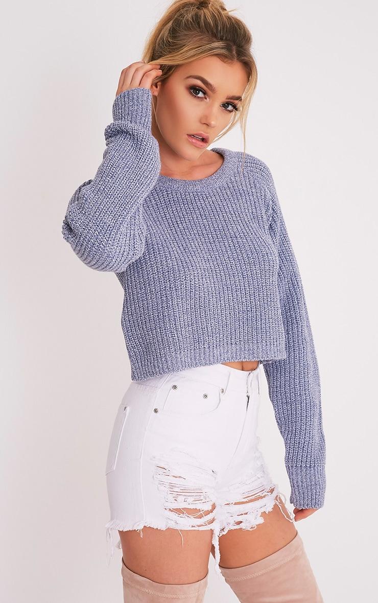 Oceana pull court bleu tricoté mixte 1