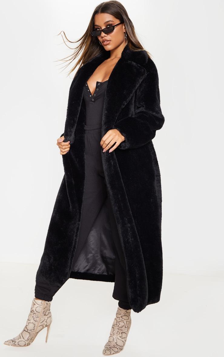 Black Belted Faux Fur Coat 1