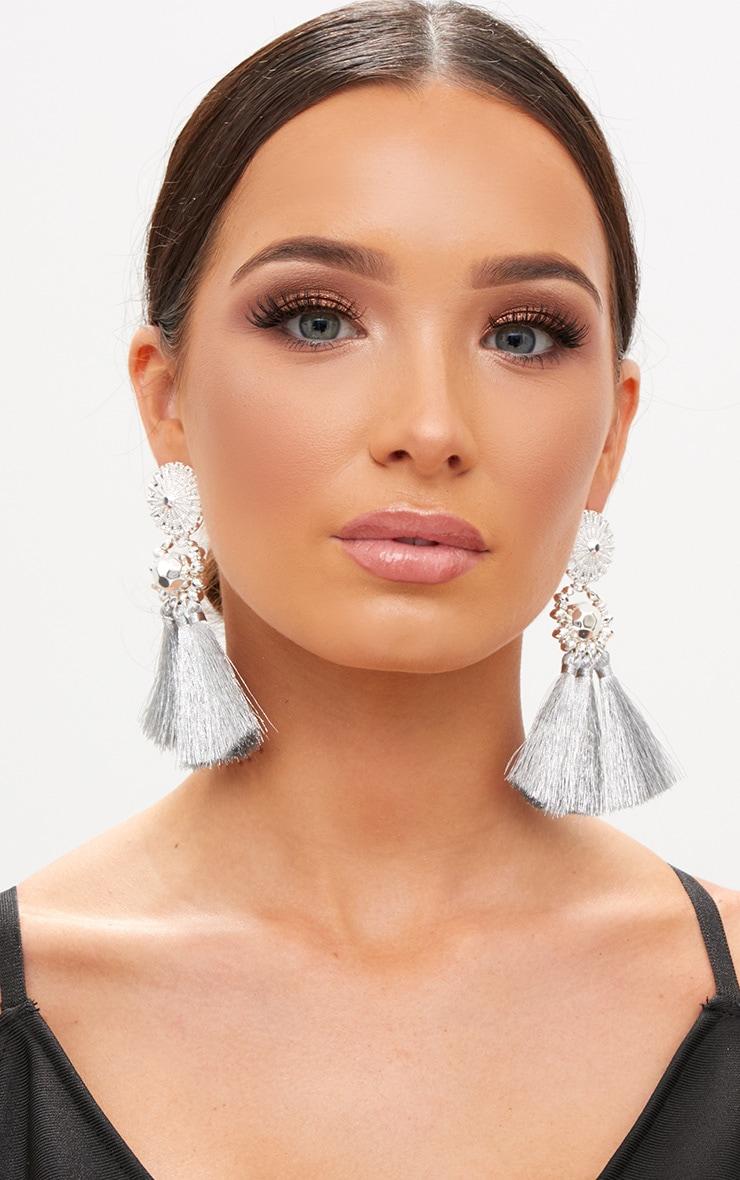 Silver Acrylic Bead Tassel Earring