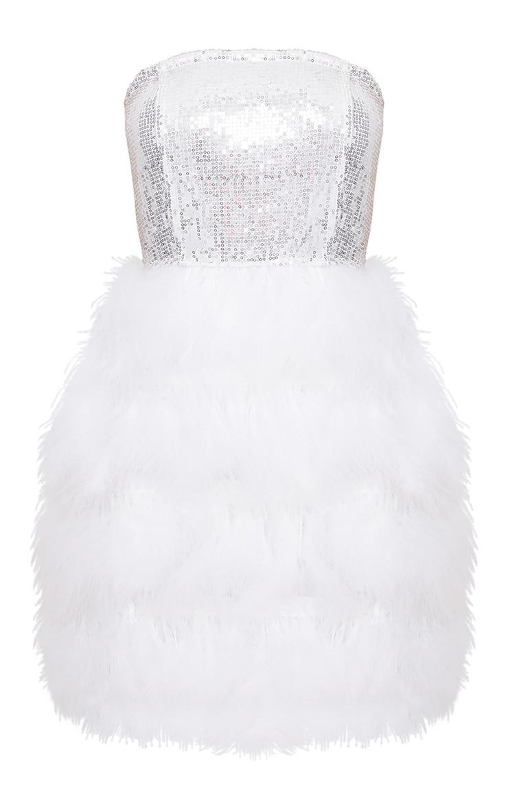 Silver Bandeau Sequin Feather Trim Bodycon Dress 4