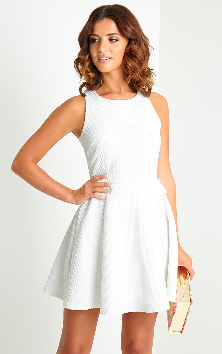 Jenni Cream Textured Skater Dress 3
