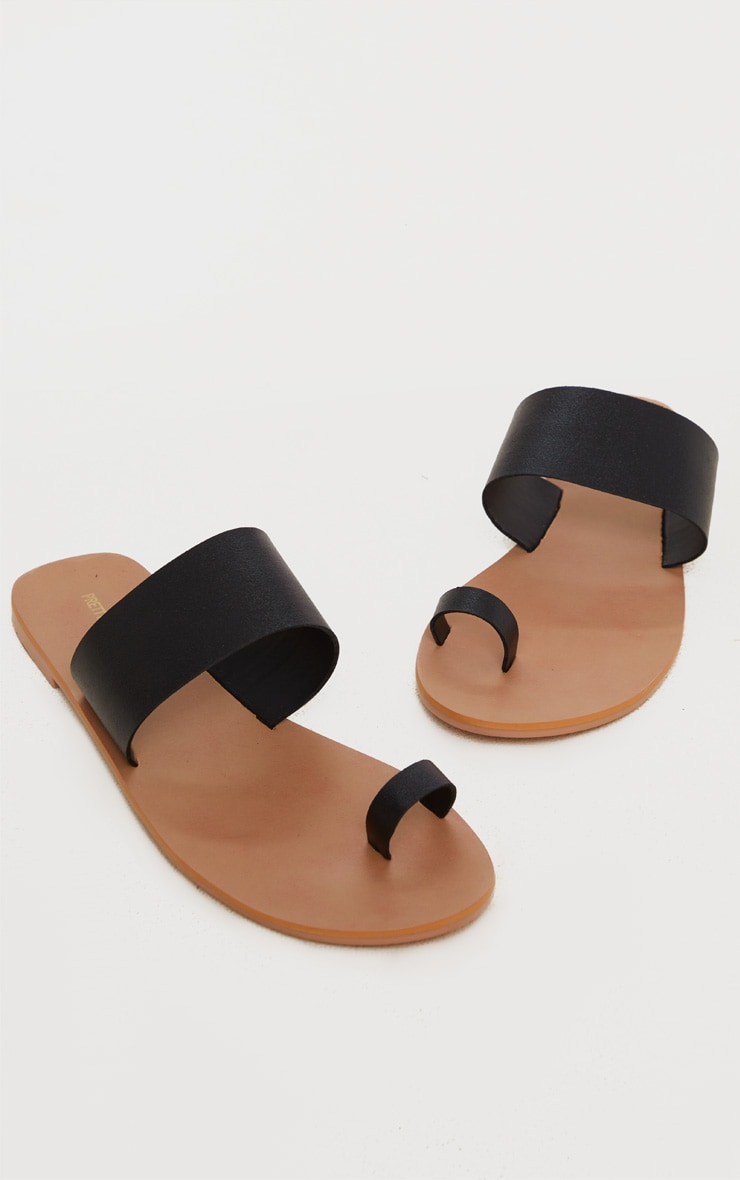 Black Toe Loop Single Leather Strap Mule Sandal 3