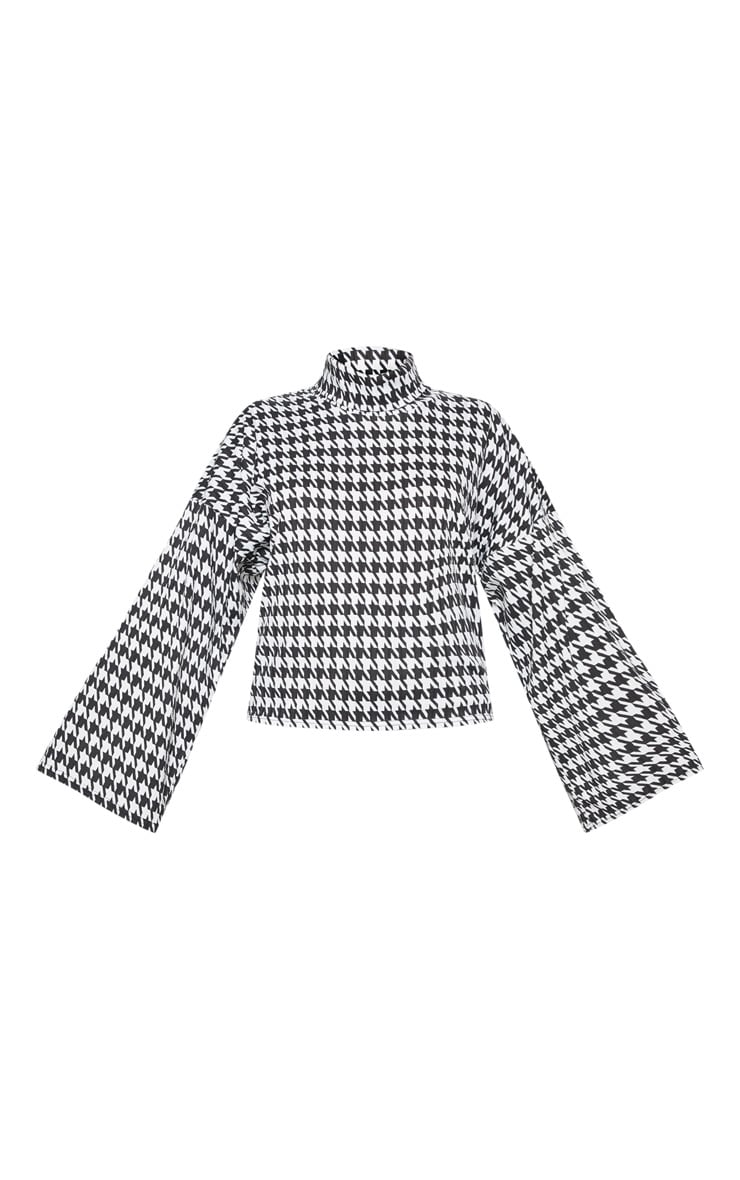Mono Dogtooth Print Roll Neck Oversized Sweater 3
