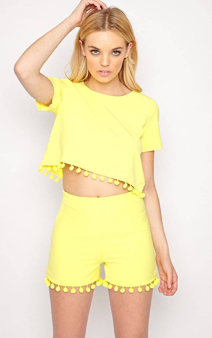 Sierra Yellow Pom Pom Crop Top  3