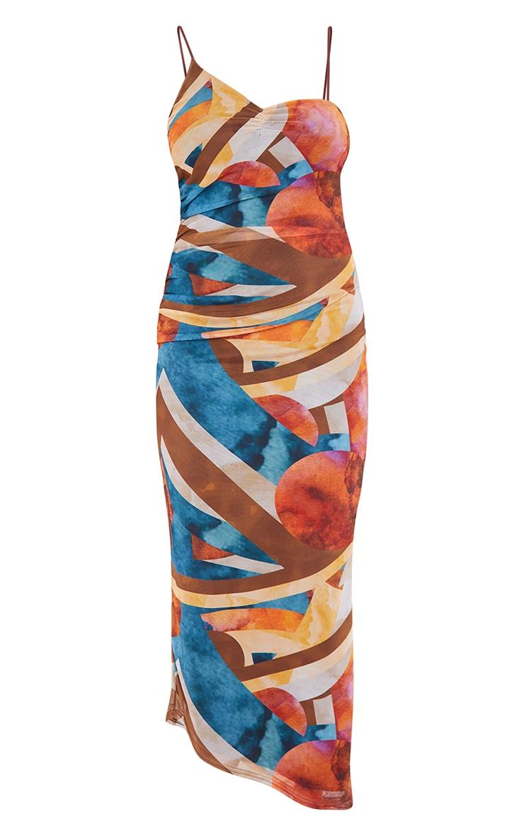 Multi Abstract Mesh Asymmetric Strappy Midaxi Dress 5