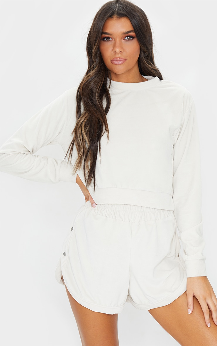 Sand Towelling Cropped Sweater 1