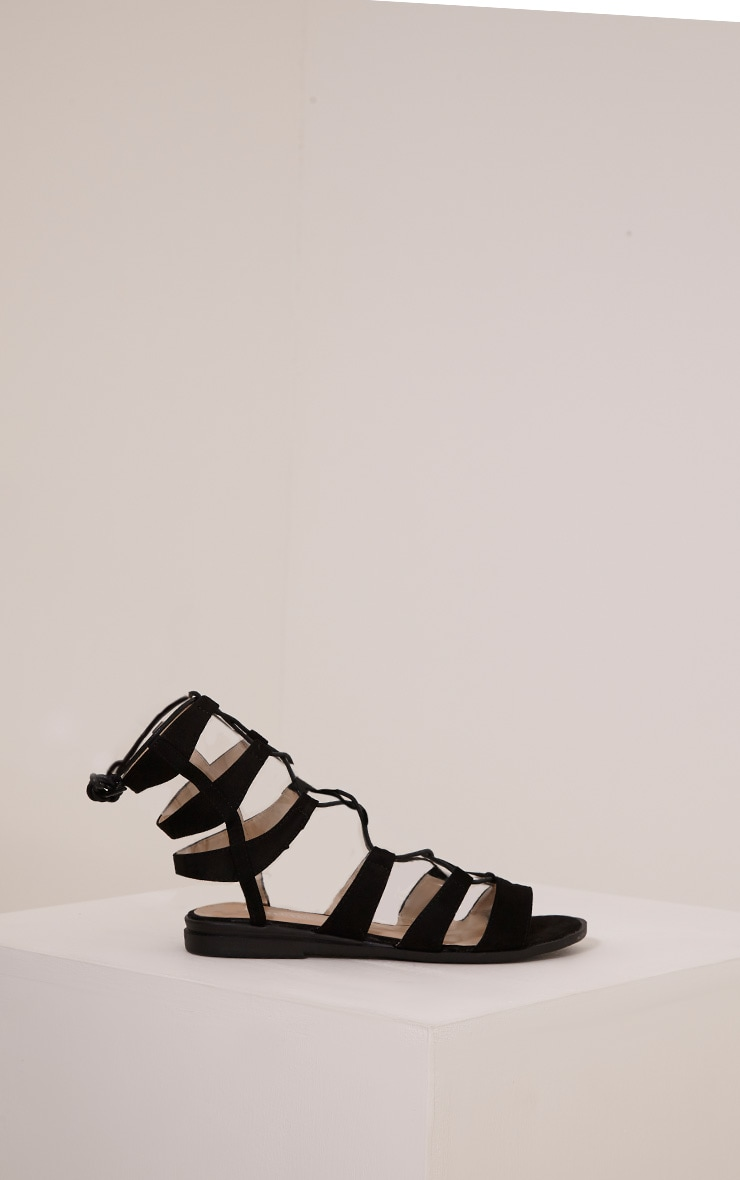 Femi Black Faux Suede Gladiator Sandals 4