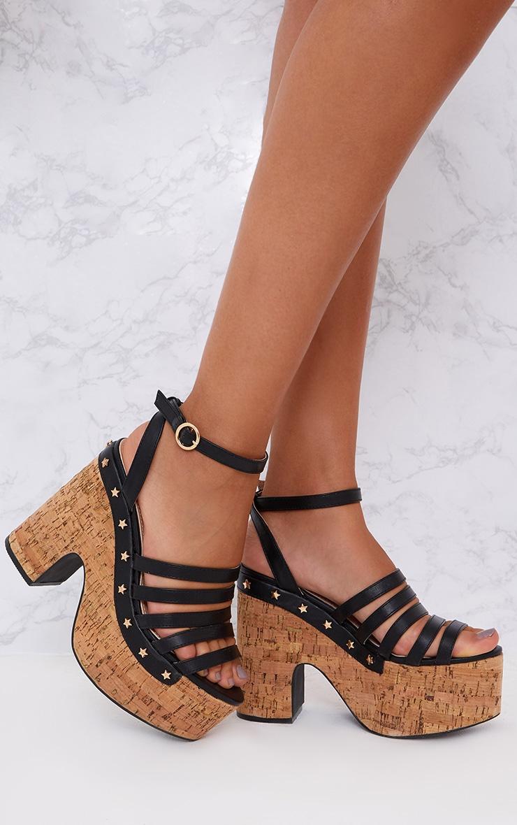 Black Chunky Platform Sandals High Heels Prettylittlething