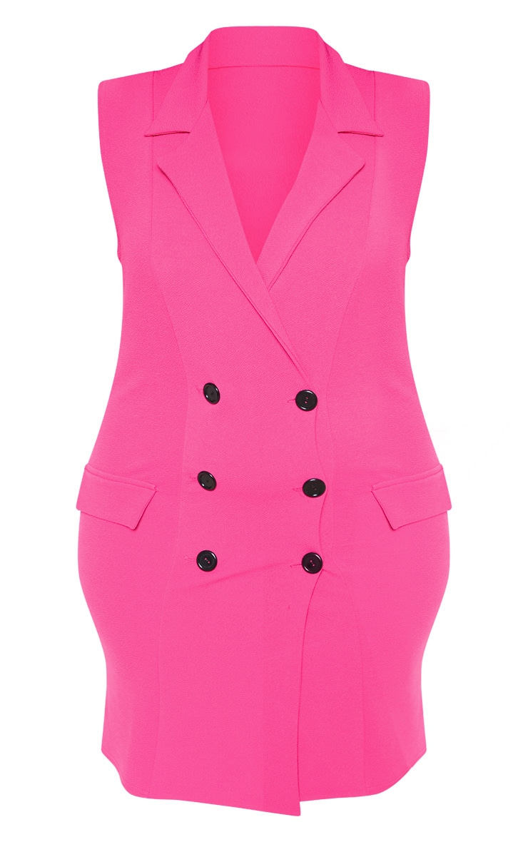 Plus Bright Pink Sleeveless Button Detail Blazer Dress 3