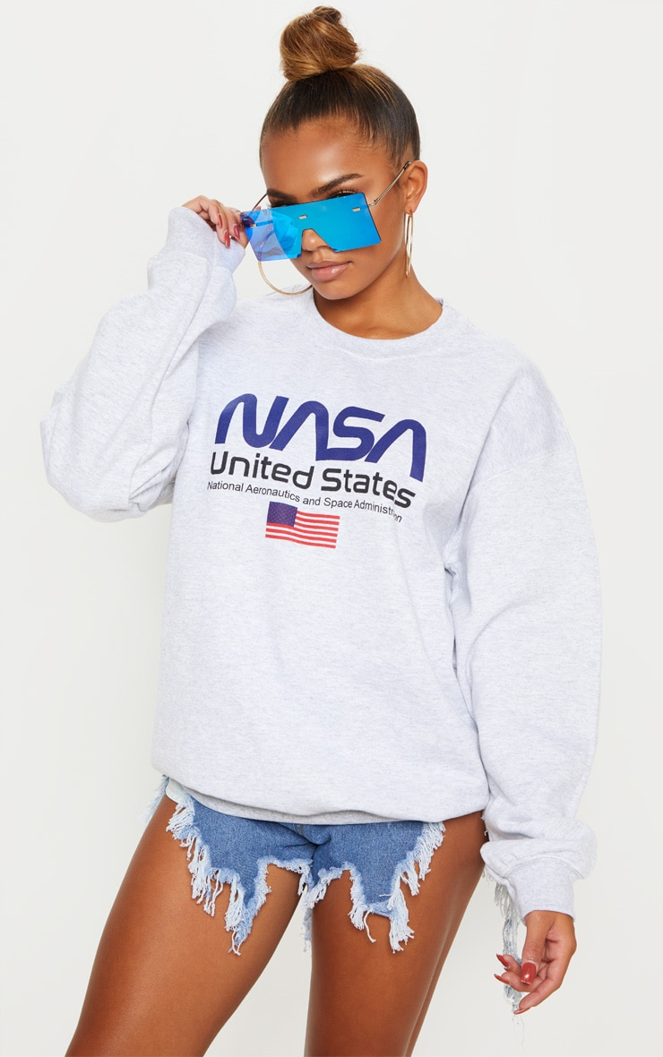 Grey Marl Nasa Sweater by Prettylittlething