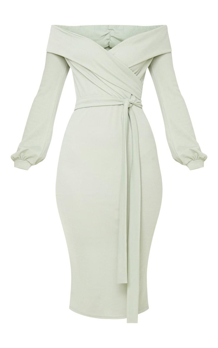 Sage Khaki Long Sleeve Wrap Bardot Midi Dress 3