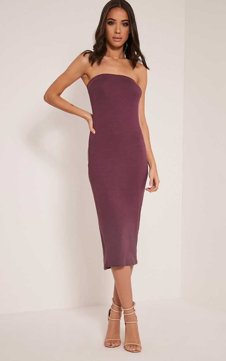 Basic Aubergine Jersey Bandeau Midi Dress 1