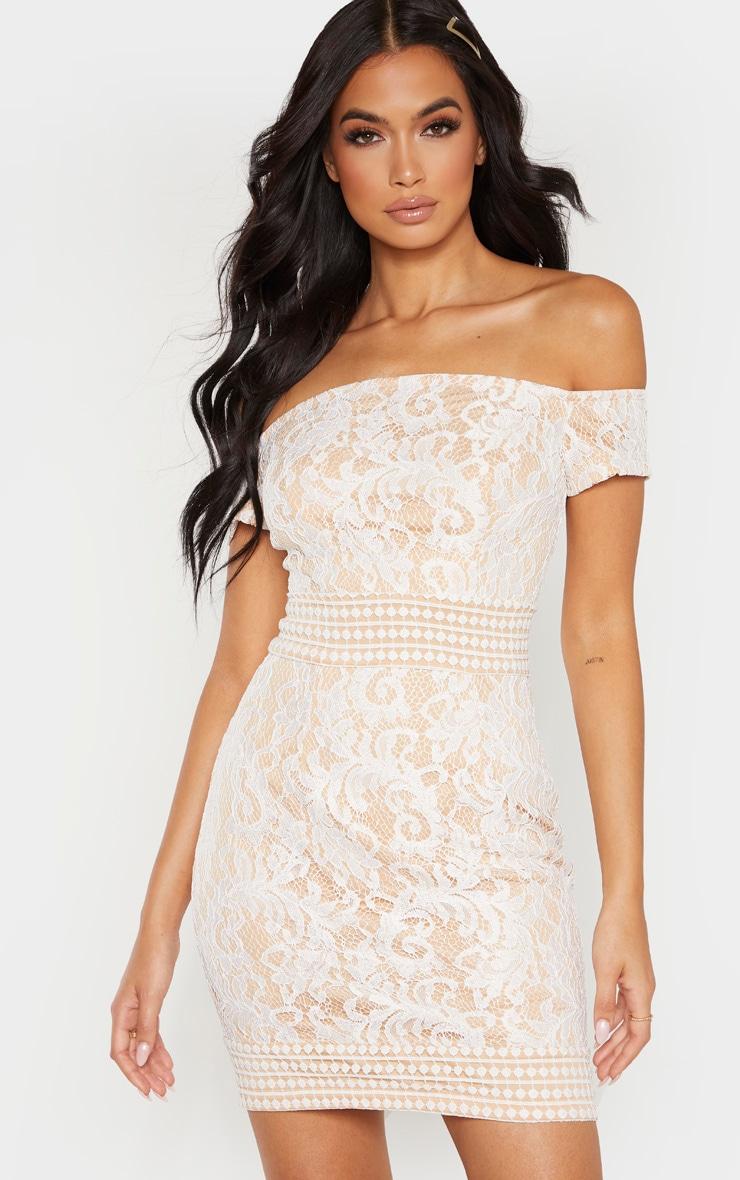 White Bardot Lace Crochet Bodycon Dress 1