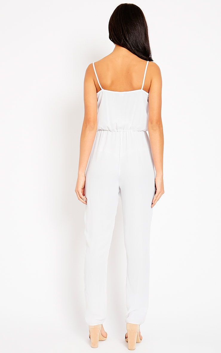 Jamelia White Wrap Front Jumpsuit 9