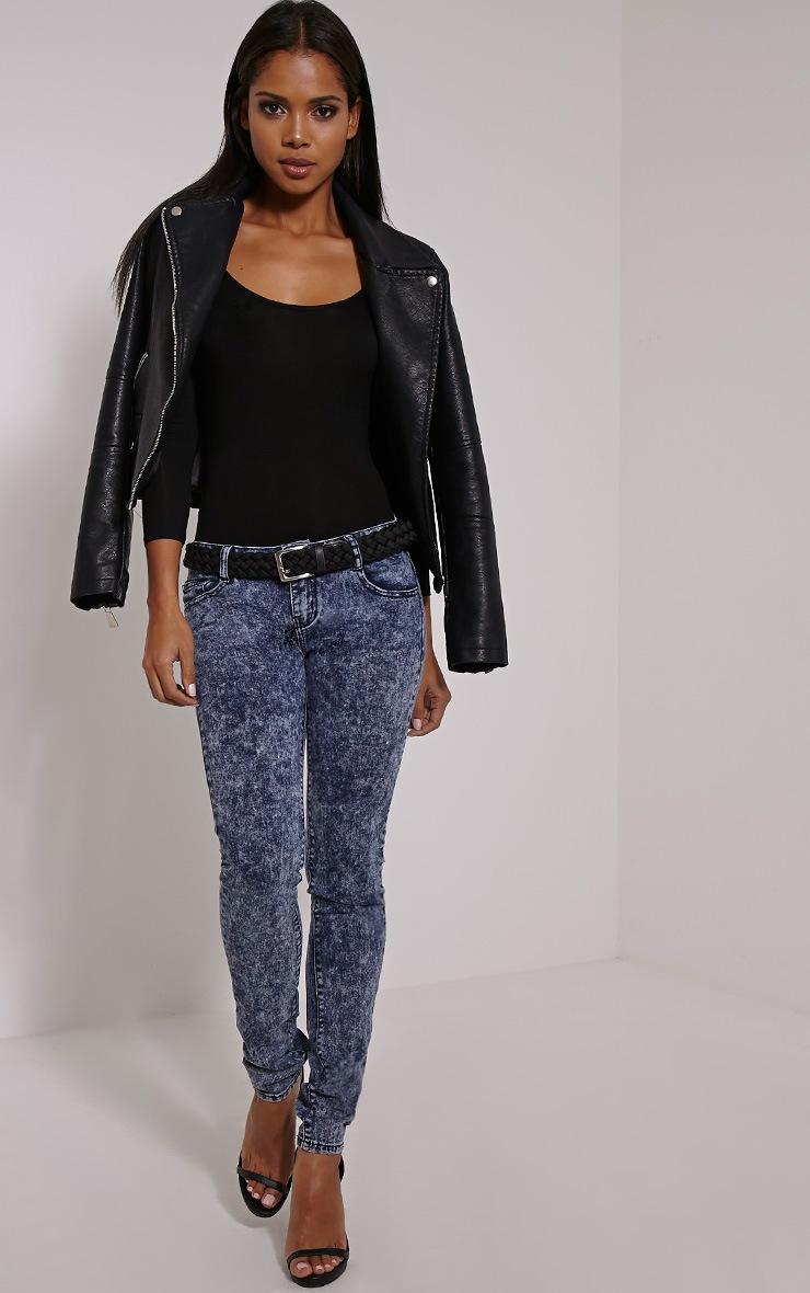 Gelsey Dark Blue Acid Wash Skinny Jean 1