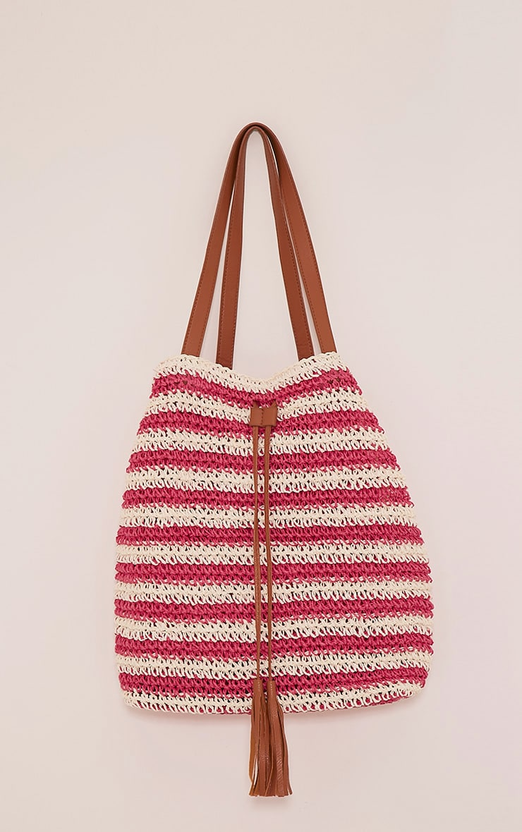 Jani Fuschia Striped Straw Beach Bag 1