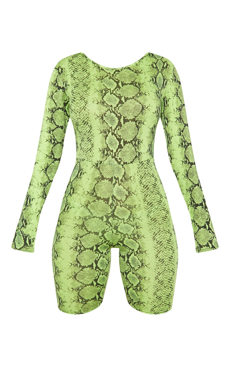 Lime Snake Print Long Sleeve Scoop Back Unitard 3