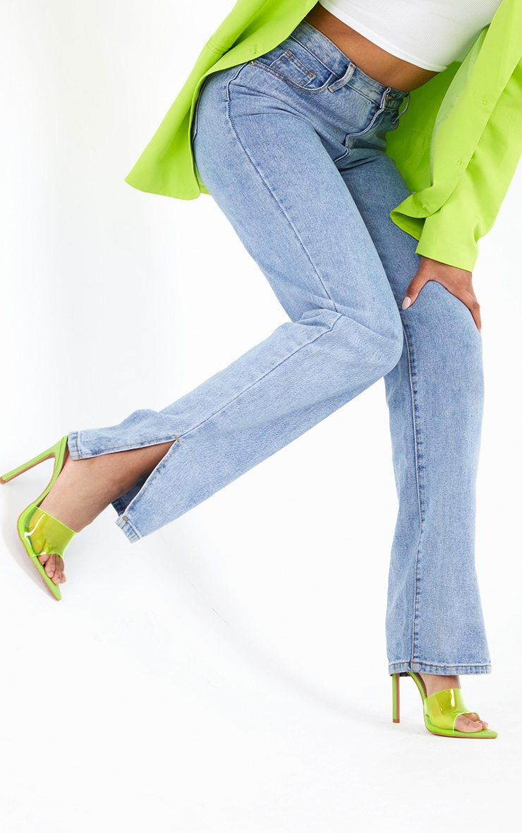 Lime Pointed Clear High Heeled Mules 2