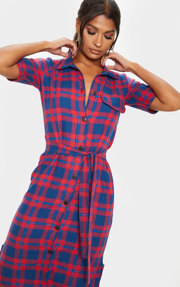 Red Checked Short Sleeve Shirt Dress 5