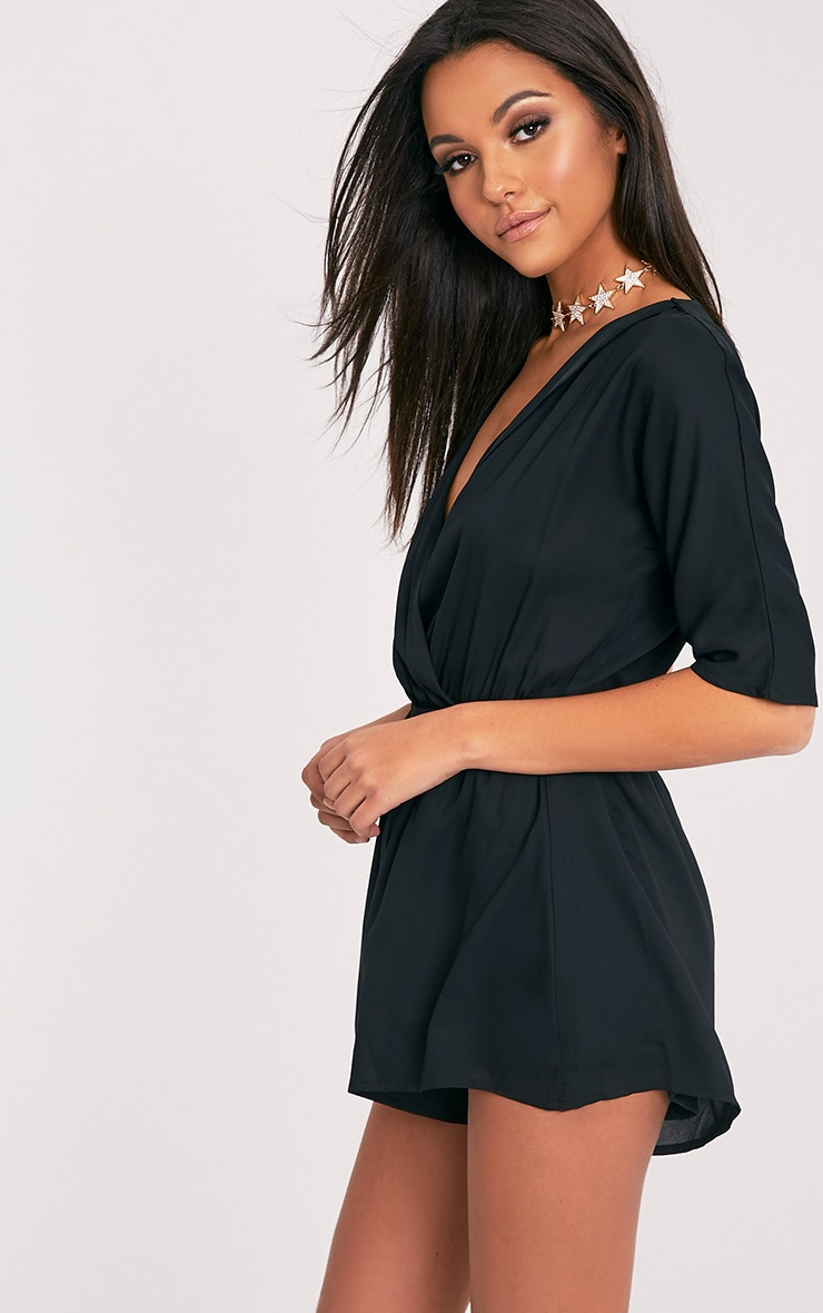 Bobby Black Wrap Front Playsuit  4