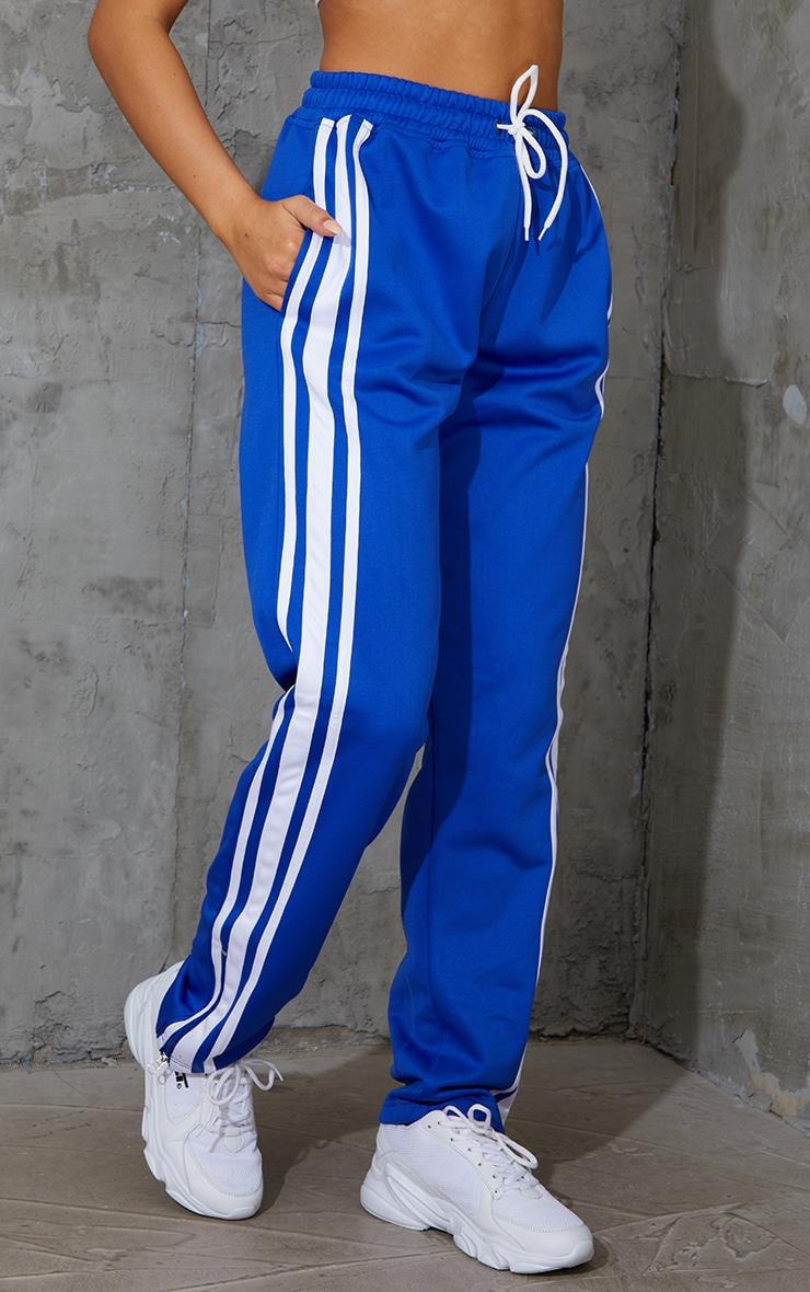 Cobalt Zip Side Stripe Wide Leg Joggers 2