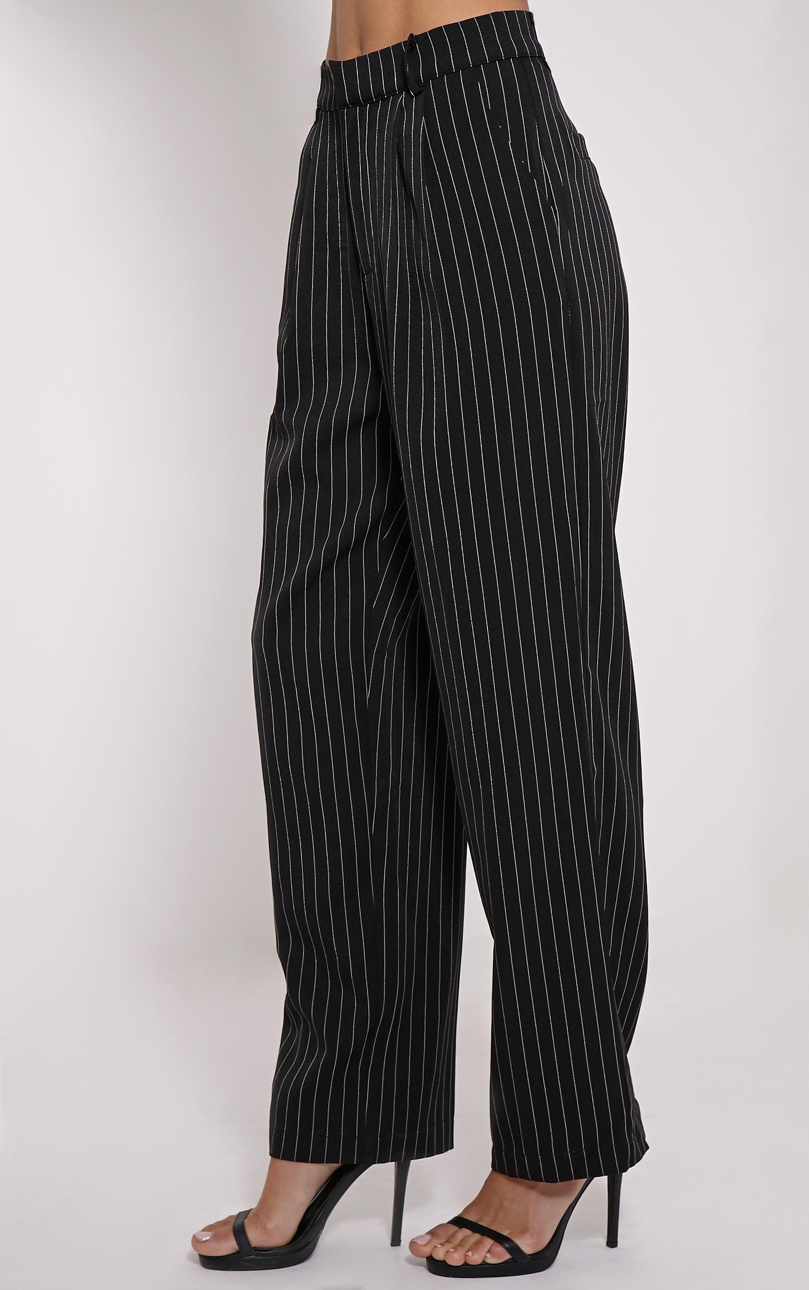 Adalyn Black Pinstripe Wide Leg Trousers 3