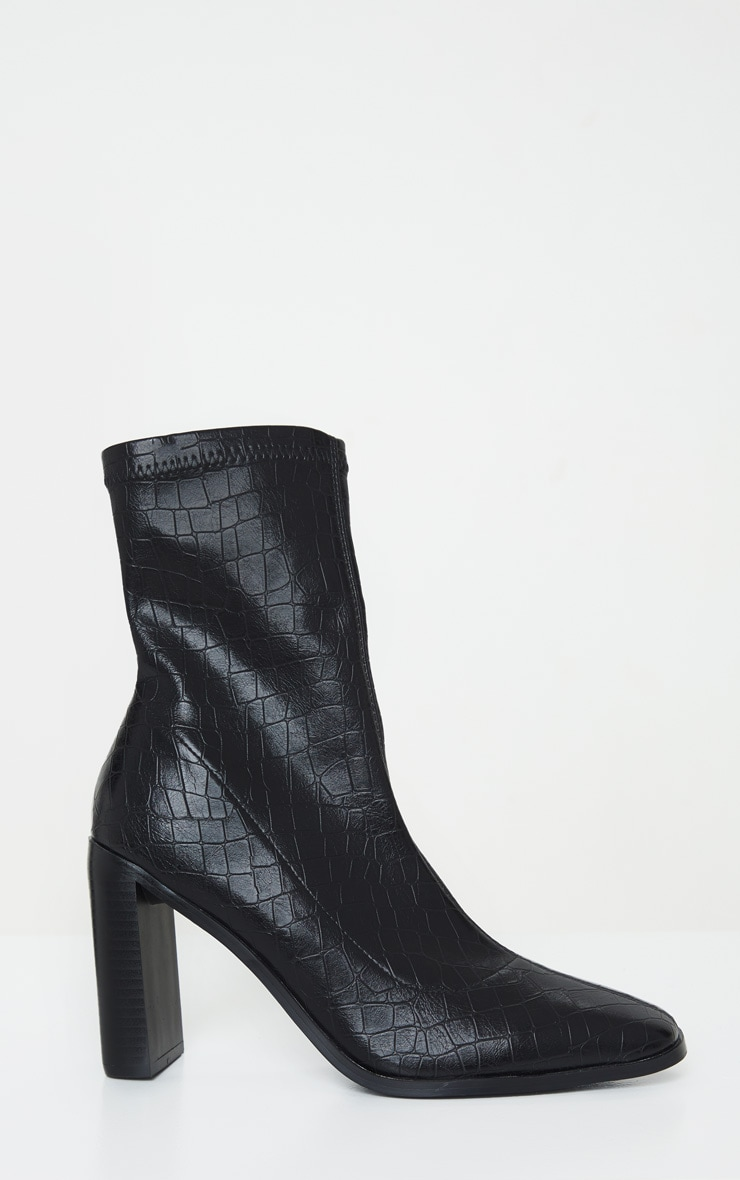 Black Flat Heel Square Toe Sock Boot 4