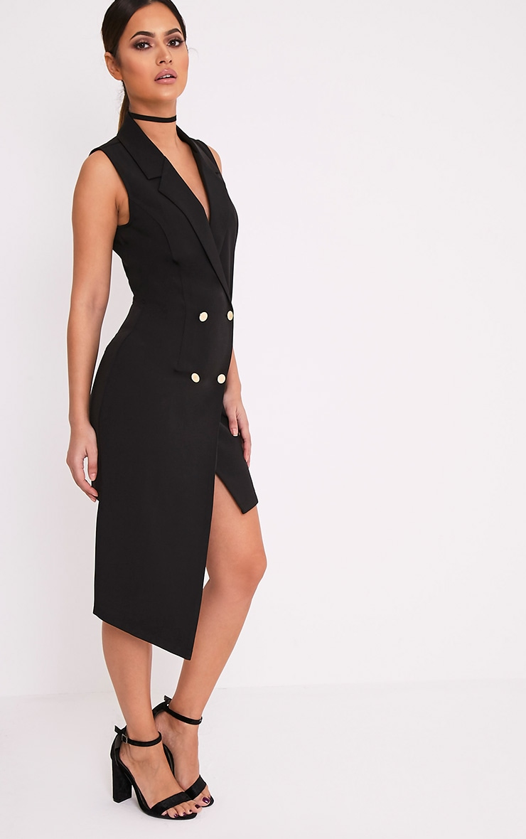 Samanthia Black Asymmetric Blazer Dress 5