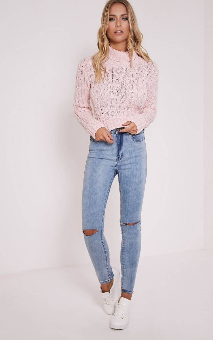 Brook Pink Cable Knit Roll Neck Crop Jumper 4
