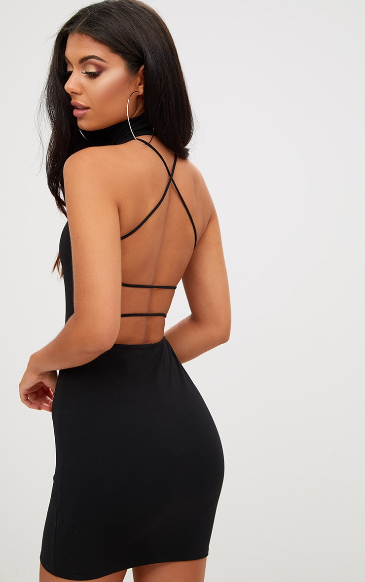 Black Lace Up Back Extreme High Neck Detail Bodycon Dress 1