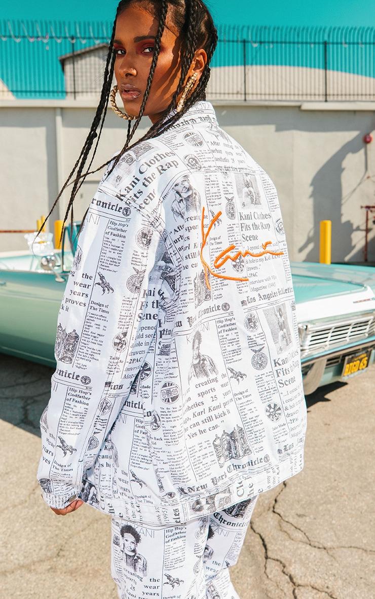 KARL KANI Monochrome Newspaper Oversized Denim Jacket 2