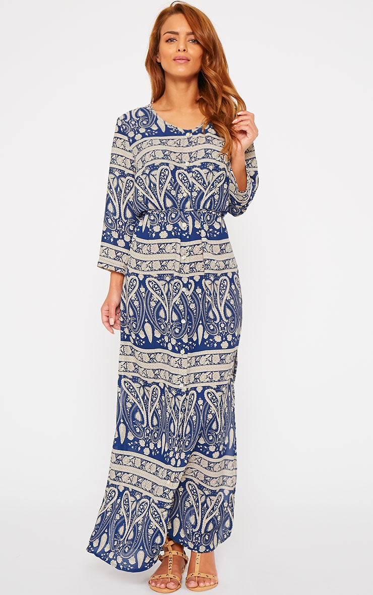 Octavia Blue Paisley Print Button Front Maxi Dress 3