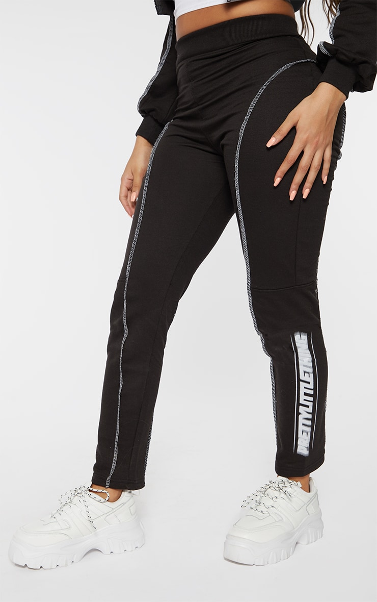 PRETTYLITTLETHING Shape Black Contrast Stitch Straight Leg Joggers 2